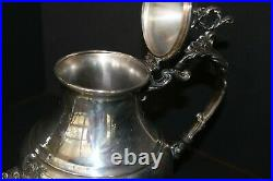 VINTAGE ORNATE F B ROGERS SILVER 3pc TEA SERVICE withFRENCH ROCOCO/WAITER'S TRAY