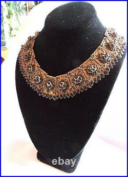 VTG ANTIQUE Tibetan Panel Ornate Brass, Onyx Beaded Wide Bib Necklace 1930's
