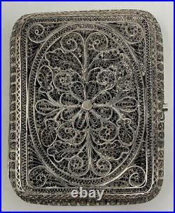 VTG Antique Ornate STERLING SILVER FILIGREE Handcrafted Cigarette / Card Case
