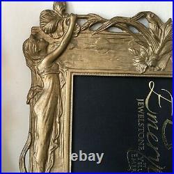 VTG Art Nouveau Deco cast picture Frame ladies/flowers Ornate High Relief metal