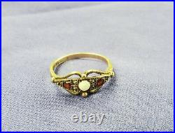 Victorian Opal Garnet Ornate Ring! Rose Gold Antique Vintage Openwork Unusual