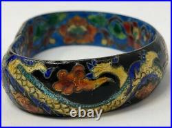 Vintage1930's Ornate Chinese Sterling Silver Dragon Enamel Bangle Bracelet Cuff