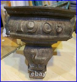 Vintage 1905 Ornate Cast Iron Drainpipe Gutter Hopper Wall Garden Flower Planter
