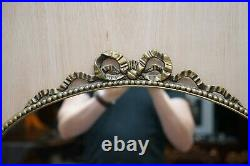 Vintage 1940's Solid Metal Framed Mirror With Ornate Casting Of Ribbons & Beads