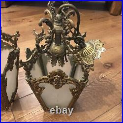 Vintage 2 X Brass Ornate Pendant Lantern Antique Lights Rococo Baroque Style