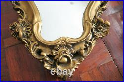 Vintage 2x gold french Gilt Ornate Gesso Baroque Rococo Style Oval Filigree mir