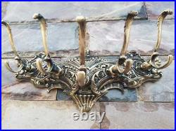 Vintage 5 Hook Coat Hanger RACK Ornate Victorian Classic Solid Brass Chunky 8lbs