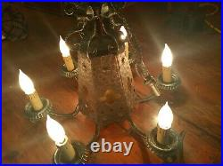 Vintage Amber Gothic Glass 6 Arm Hanging Light Fixture Chandelier ORNATE
