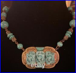 Vintage Antique Art Deco Peking Glass Czech Neiger Ornate Brass Necklace