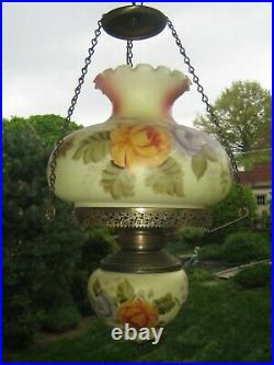 Vintage/Antique Chandelier Hand Painted Glass Hurricane Ornate Beautiful VGC