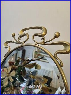 Vintage Antique Ornate 1930s painted floral Brass Bevelled Mirror Fire Screen
