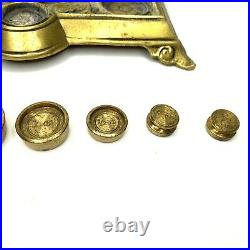 Vintage Antique Ornate Brass Scale Weigh Scale England Warranted Accurate
