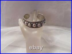 Vintage Antique Siam Ornate Domed Sterling Silver Cuff Bracelet Rare