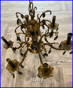 Vintage Antique Solid Brass 6 Arm Brass Chandelier Ornate with Crystals AS IS