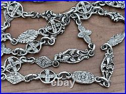 Vintage Antique Sterling Silver 925 Floral Ornate Link Chain Necklace 24 In