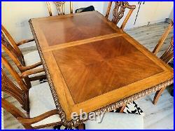 Vintage, Antique Style Mahogany Ornate Dining Table And 6 Chairs