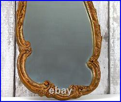 Vintage Atsonea Ornate Wood Carved Gold Gilt Plaster Wall Mirror Baroque Rococo