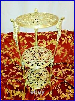 Vintage Brass 3 Tier Plant Stand Side Table Ornate Victorian Antique