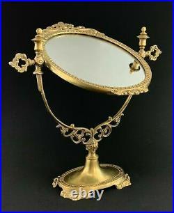 Vintage Brass Adjustable Standing Swivel Vanity Mirror Ornate Italian Boudoir