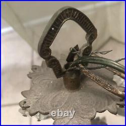 Vintage Brass Ornate 5 Arm Hanging Crystal Antique Lighting Chandelier Spain