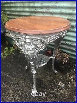 Vintage Britannia Heavy Ornate Cast Iron Table Pub Garden Home Etc Art Deco