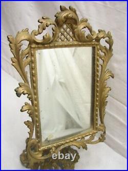 Vintage Cast Iron Art Nouveau Dress Stand Mirror Shaving Vanity Ornate Frame