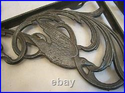 Vintage Cast Iron Ornate Shelf Sign Brackets Art Nouveau Birds Home Decor