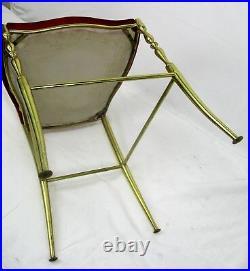 Vintage Chiavari Chair Brass Hollywood Regency Italian Red Fabric Ornate