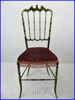 Vintage Chiavari Chair Brass Hollywood Regency Italian Red Pattern Ornate