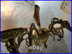 Vintage Classic FRENCH Ornate Solid Brass 5 Light Marble Chandelier Fixture
