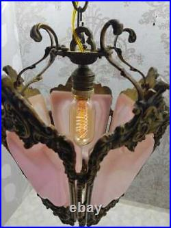 Vintage Classic Ornate Victorian BRASS PINK PANTHER SHADES LAMP CEILING FIXTURE
