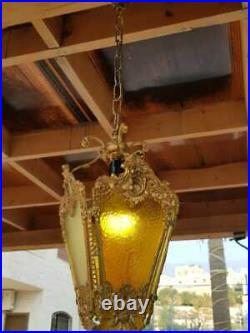 Vintage Classic Ornate Victorian SOLID BRASS LAMP GLASS CHANDELIER FIXTURE