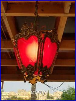 Vintage Classic Ornate Victorian SOLID BRASS LAMP Red Shades CHANDELIER FIXTURE