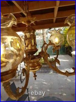 Vintage Classic Victorian Ornate Gilt 5 Light Chandelier Crystal Globes Fixture