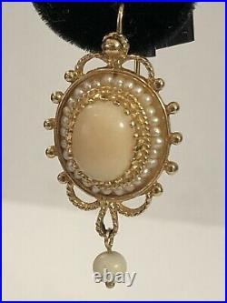 Vintage Coral & Pearl 14K Ornate Earrings
