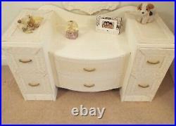 Vintage Cream painted refurbished Dressing table Drawers Ornate mirror Antique
