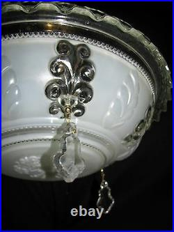 Vintage Deco Era Victorian Chandelier Light Fixture Original Ornate Glass Shade
