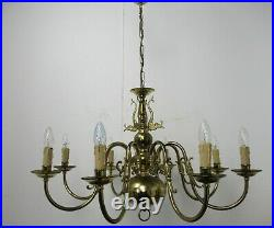 Vintage Flemish Dutch Ornate Brass Chandelier 8 Arms Lights Fish Mid Century
