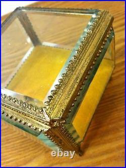 Vintage French Antique Brass/Beveled Glass Trinket/Jewelry Box 3x3x3-Ornate
