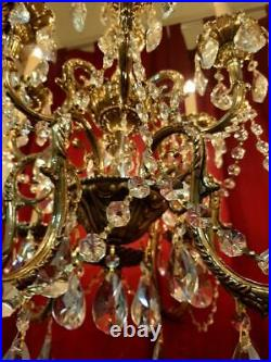 Vintage French Ornate Brass Star Crystal Chandelier Williamsburg Style 12 Light