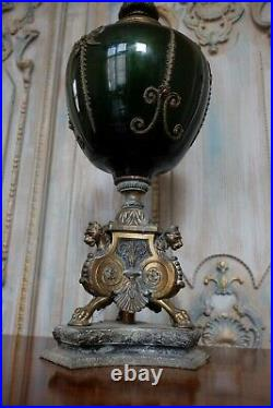 Vintage French Rustic Bronze Finish Green & Gold Ornate Spelter Glass Table Lamp