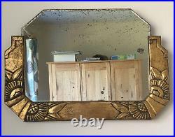 Vintage Genuine French Art Deco Ornate Gilt Plaster & Gesso Mirror