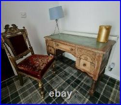 Vintage Gothic Throne velvet chair & ornate Writing Office Desk antique