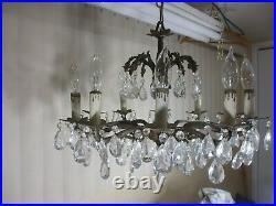 Vintage HUGE Ornate Spanish Brass 10 Arm Chandelier Light with Canopy & 80 Prisms