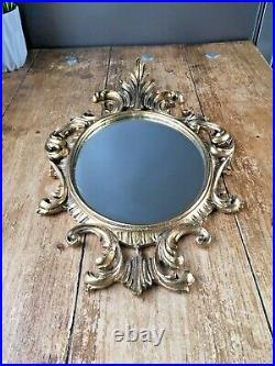 Vintage Heavily Gilded Ornate Gold Italian Giltmetal Mirror Regency Rococo Style