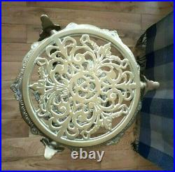 Vintage Italian 3-tiered Pierced Brass Stand With Cherubs & Fine Ornate Detail