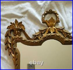 Vintage Italian Wall Hanging Mirror Ornate Gold gilded Hollywood Regency Resin