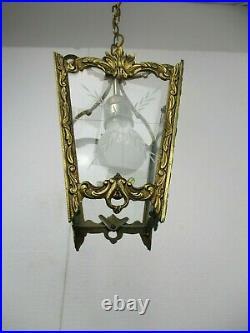Vintage Lantern Ornate Etched Glass Chandelier Pendant 1 Light Hollywood regency