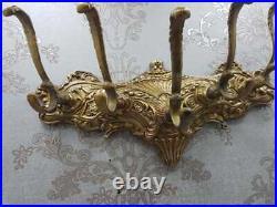 Vintage Large 5 Hook Ornate Victorian Classic Solid Brass Coat & Hat Hanger RACK