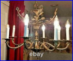 Vintage Large Birdcage Ornate Brass 8 Light Chandelier Spain with Lead Crystals